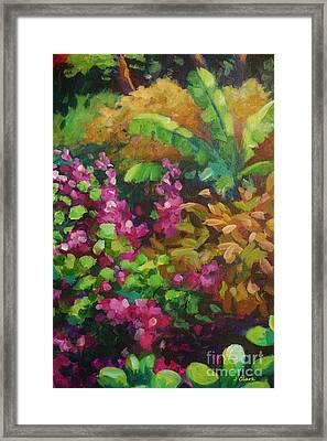 Gold And Pink Garden Scene Framed Print by John Clark