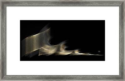 Gold And Platinum Shimmer On Black Framed Print