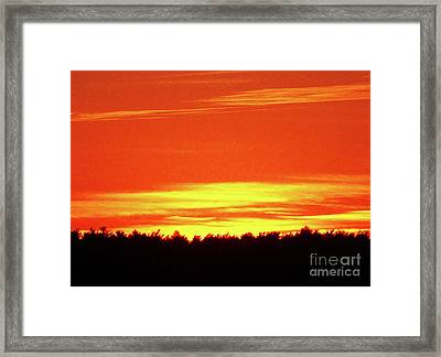 Gold And Red Sunset Silhouette Framed Print by Mary Ann Weger