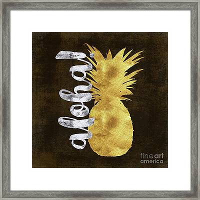 Gold And Silver Aloha Pineapple Tropical Fruit Of Hawaii Framed Print