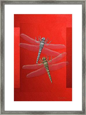 Framed Print featuring the digital art Gold And Silver Dragonflies On Red Canvas by Serge Averbukh