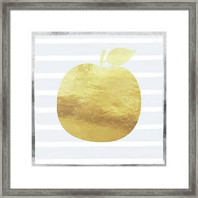 Gold Apple- Art By Linda Woods Framed Print by Linda Woods