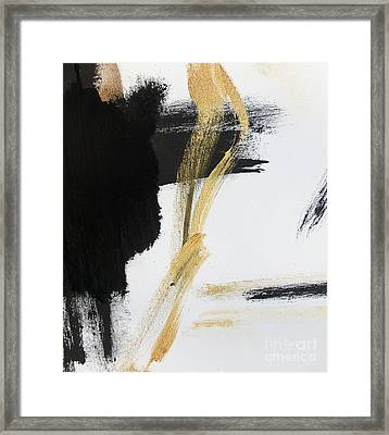 Gold Black And White Modern Abstract Framed Print by WALL ART and HOME DECOR