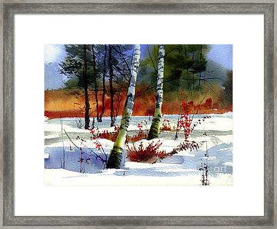 Gold Bushes Watercolor Framed Print