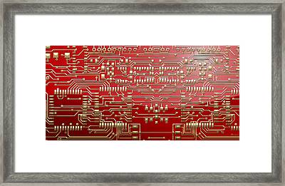 Gold Circuitry On Red Framed Print by Serge Averbukh
