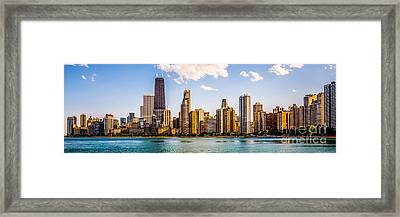 Gold Coast Chicago Skyline Panorama Framed Print by Paul Velgos