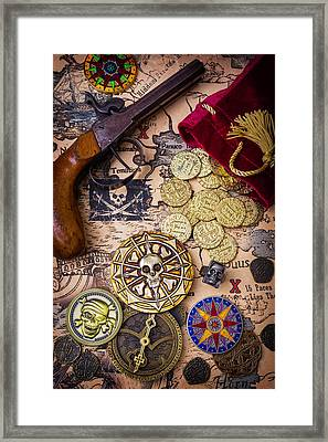Gold Coins On Pirate Map Framed Print by Garry Gay