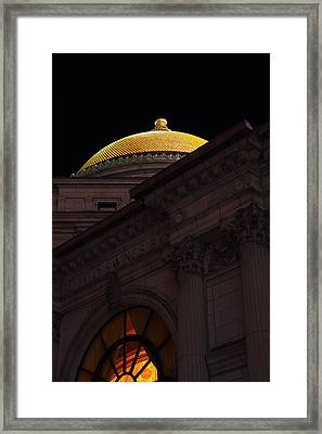 Framed Print featuring the photograph Gold Dome At Night by Don Nieman