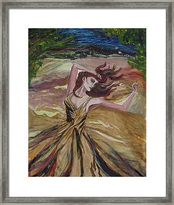 Gold Dress In The Wind Framed Print by Penfield Hondros