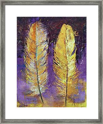 Gold Feathers Framed Print