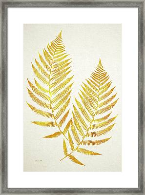 Gold Fern Leaf Art Framed Print by Christina Rollo