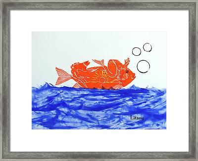Gold Fish Framed Print by International Artist Brent Litsey