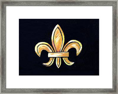 Gold Fleur De Lis On Black Framed Print