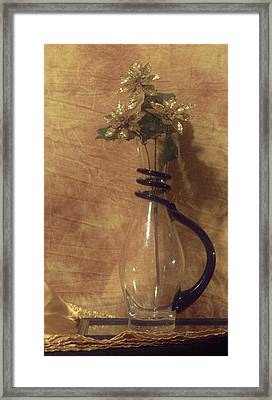 Gold Flower Vase Framed Print