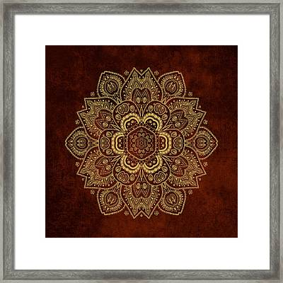 Gold Flower Mandala On Rusty Red Background Framed Print