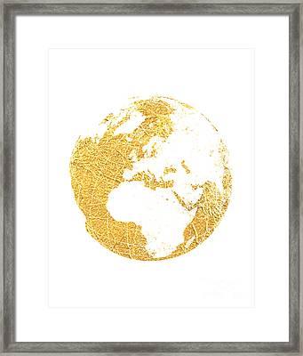Gold Globe Framed Print by Jennifer Mecca