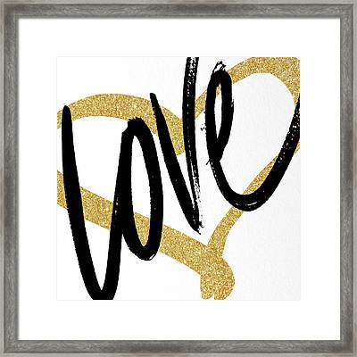 Gold Heart Black Script Love Framed Print