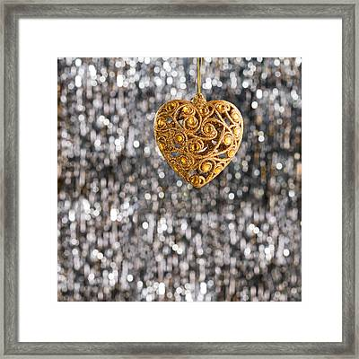 Framed Print featuring the photograph Gold Heart  by Ulrich Schade