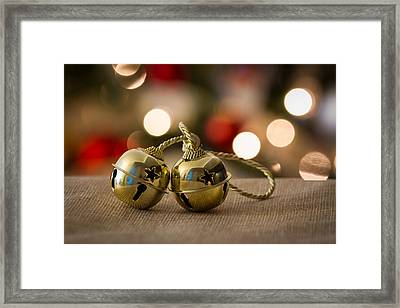 Gold Jingle Bell Framed Print by Mina Fouad