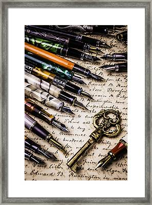 Gold Key And Fountain Pens Framed Print by Garry Gay