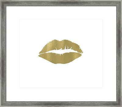 Gold Lips Kiss Framed Print by P S