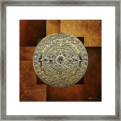 Gold Mayan-aztec Calendar On Brown Leather Framed Print