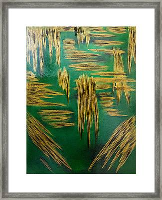 Gold Metallic Abstract Framed Print by Renee Anderson