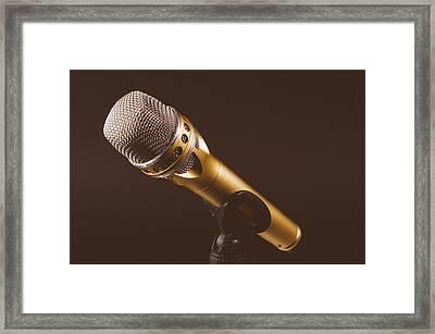 Gold Microphone Framed Print