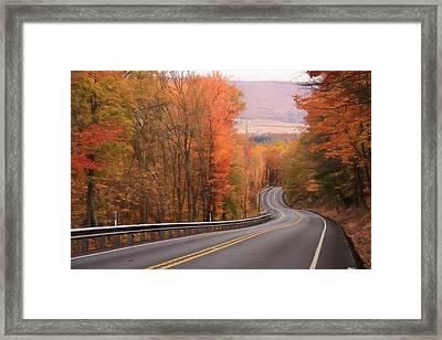 Gold Mine Road In Autumn Framed Print by Lori Deiter