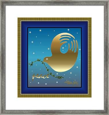 Gold Peace Dove Framed Print
