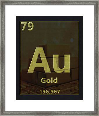 Gold Periodic Table Framed Print by Dan Sproul