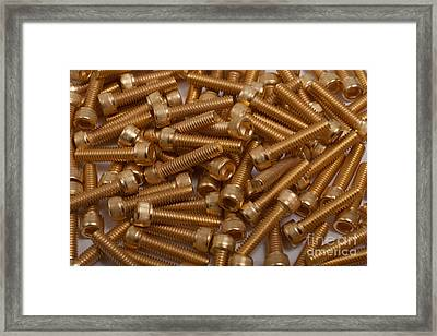 Framed Print featuring the photograph Gold Plated Screws by Gunter Nezhoda