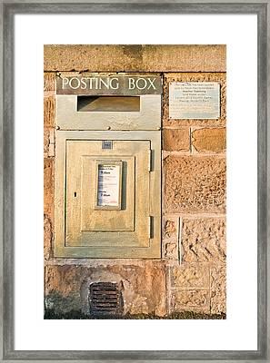 Gold Post Box Framed Print by Tom Gowanlock