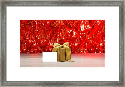 Framed Print featuring the photograph Gold Present With Place Card  by Ulrich Schade