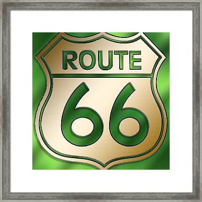 Framed Print featuring the digital art Gold Route 66 Sign by Chuck Staley