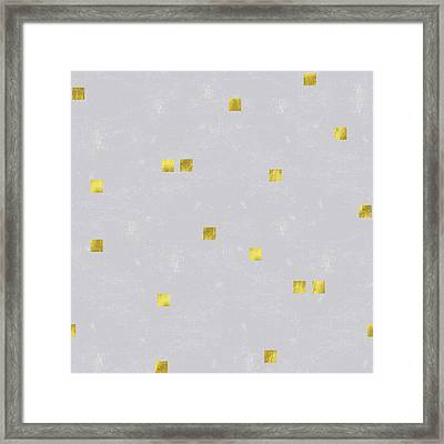 Gold Scattered Square Confetti Pattern On Grey Linen Texture Framed Print