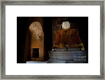Gold Shrouded Buddha In Burma Basks In Natural Light By Temple Portal Framed Print
