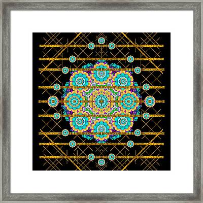 Gold Silver And Bloom Mandala Framed Print by Pepita Selles