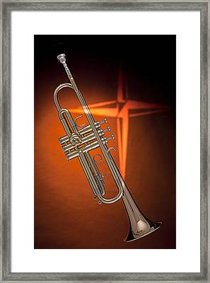 Gold Trumpet With Cross On Orange Framed Print by M K  Miller