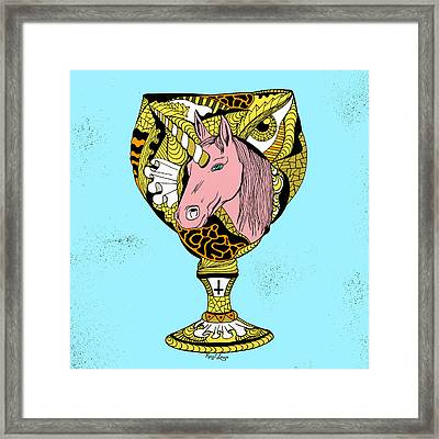 Gold Unicorn Goblet Framed Print by Kenal Louis