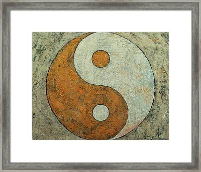 Gold Yin Yang Framed Print by Michael Creese