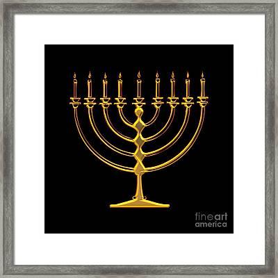 Golden 3-d Look Menorah  Framed Print