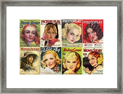Golden Age Of Movies Magazine Covers Framed Print