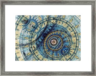 Golden And Blue Clockwork Framed Print