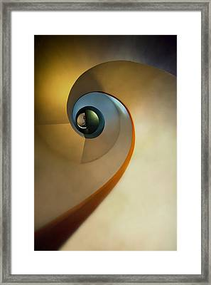 Golden And Brown Spiral Staircase Framed Print by Jaroslaw Blaminsky
