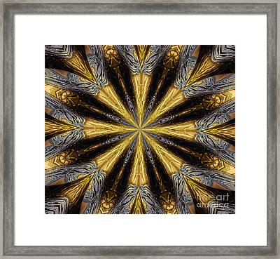 Golden And Silvery Metallic Filaments Mandala Abstract 1 Framed Print