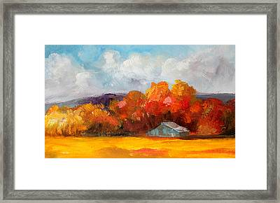 Golden Autumn Blue Country Horse Barn Framed Print