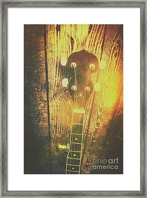Golden Banjo Neck In Retro Folk Style Framed Print