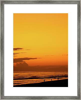 Golden Beach Sunset Framed Print