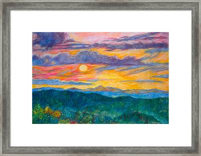 Golden Blue Ridge Sunset Framed Print by Kendall Kessler